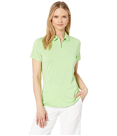 Callaway 1/4 Zip Heather Short Sleeve Polo (Jasmine Green Heather) Women