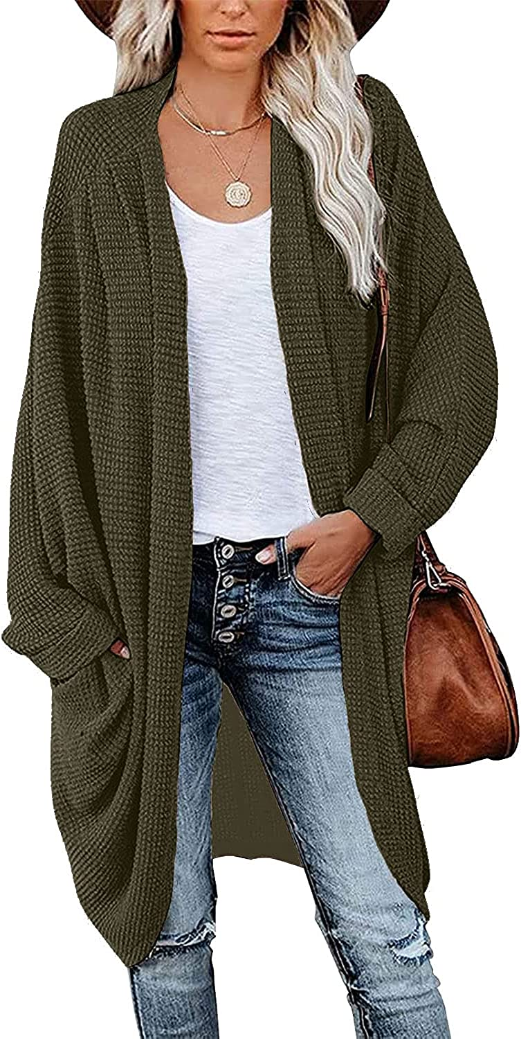 SUPRELOOK Woman's Batwing Long Sleeve Kimono Cardigan Waffle Knit Loose Sweater Coat with Pockets