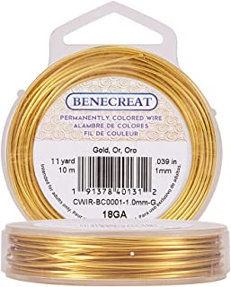BENECREAT 18-Gauge Tarnish Resistant Gold Wire, 33-Feet/11-Yard