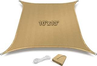 Sorbus Sun Shade Sail [10' X 13'] Canopy - Rectangle Shade Sail UV Block Patio, Garden, Outdoor Facility Activities (Rectangle - Sand Tan)