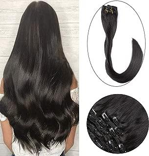 Clip en extensiones de cabello Extensiones verdaderas del pelo humano del 100% Pelo remy para mujeres 120g 7 PCS por juego, Longitud 40cm 45cm 50cm (40cm,#1BNegro natural)