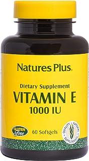 NaturesPlus Vitamin E - 1000 iu Alpha D-Tocopherol, 60 Softgels - Easy to Swallow Vitamin E Supplement, Derived from Natur...