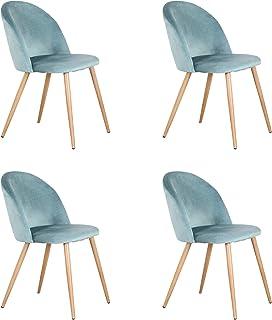 GrandCA Pack de 2/4 sillas de Comedor ,Cojines de Terciopelo Suave Asiento,Sillas de Cocina para Comedor y Sala de Estar (Verde-4)