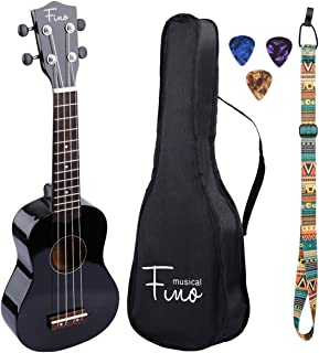 FINO Ukulele Kit for Beginners Rainbow Series,Soprano Ukulele Beginner Pack-21 inch w/Gig Bag,Strap and Picks,Small Guitar for Kids 5-8(Black)