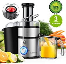 "KOIOS Centrifugal Juicer Machines, Juice Extractor with Big Mouth 3"" Feed Chute, 304 Stainless-steel Fliter, Best Seller Juicer 2019, High Juice yield, Easy to Clean&100% BPA-Free, 1200W&Powerful, Dishwasher Safe, Included Brush, The Best Choice for Gold Sellers"