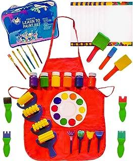 Little Kids Art Set - Kids Art Supplies - 48 Piece Set Paint Brushes, Bonus Paint Smock, Finger Paints, Palette, Foam Texture Brushes, Paper - Nontoxic Washable Paint - Learn to Paint Set