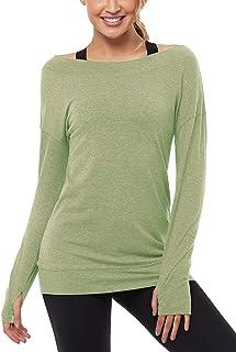Muzniuer Long Sleeve Workout Shirts-Off Shoulder Long Sleeve Yoga Sports Long T-Shirt Activewear with Thumb Hole