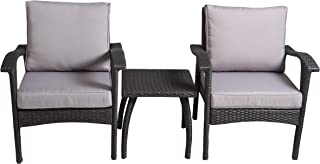 Christopher Knight Home 296726 Maui Outdoor 3-Piece Grey Wicker Chat Set with Cushions