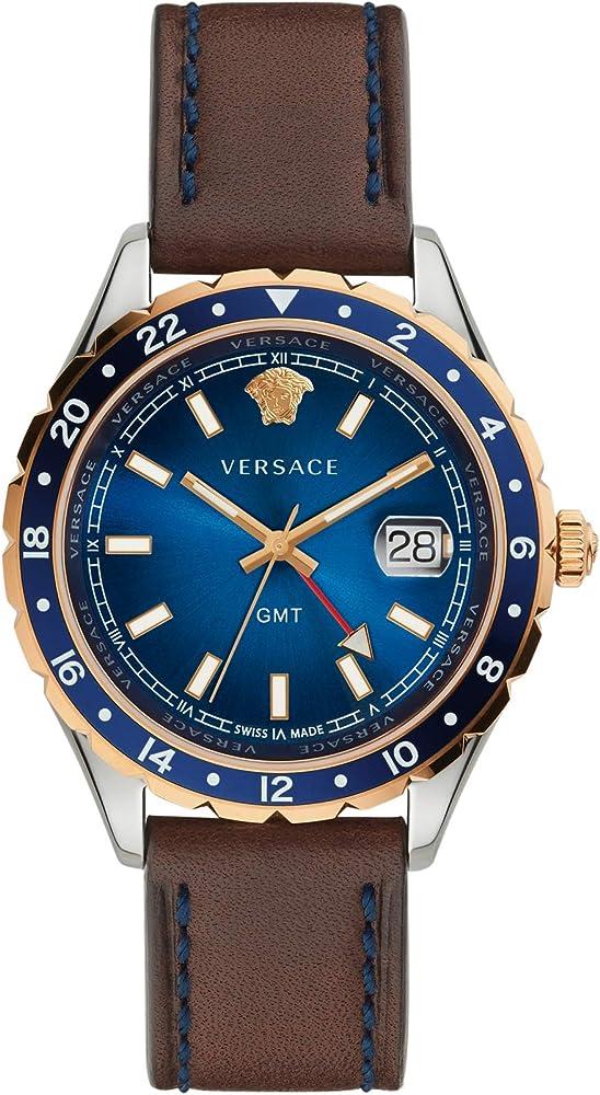 Versace hellenyium orologio da uomo  con cinturino in pelle, quadrante blu in accio inossidabile V11080017