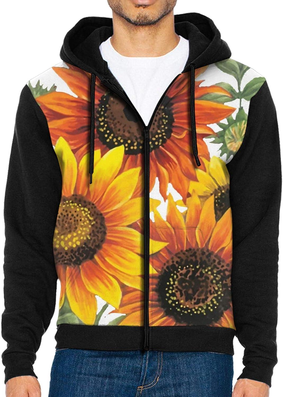 Zip Up Hoodie Men Max 56% OFF Yellow P Blue Sweatshirt Excellence Sunflowers Hooded