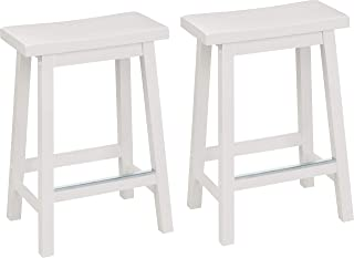 AmazonBasics Classic Solid Wood Saddle-Seat Kitchen Counter Stool with Foot Plate 24 Inch, White, Set of 2
