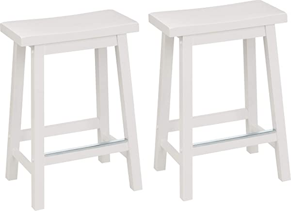 AmazonBasics Classic Solid Wood Saddle Seat Kitchen Counter Stool With Foot Plate 24 Inch White Set Of 2
