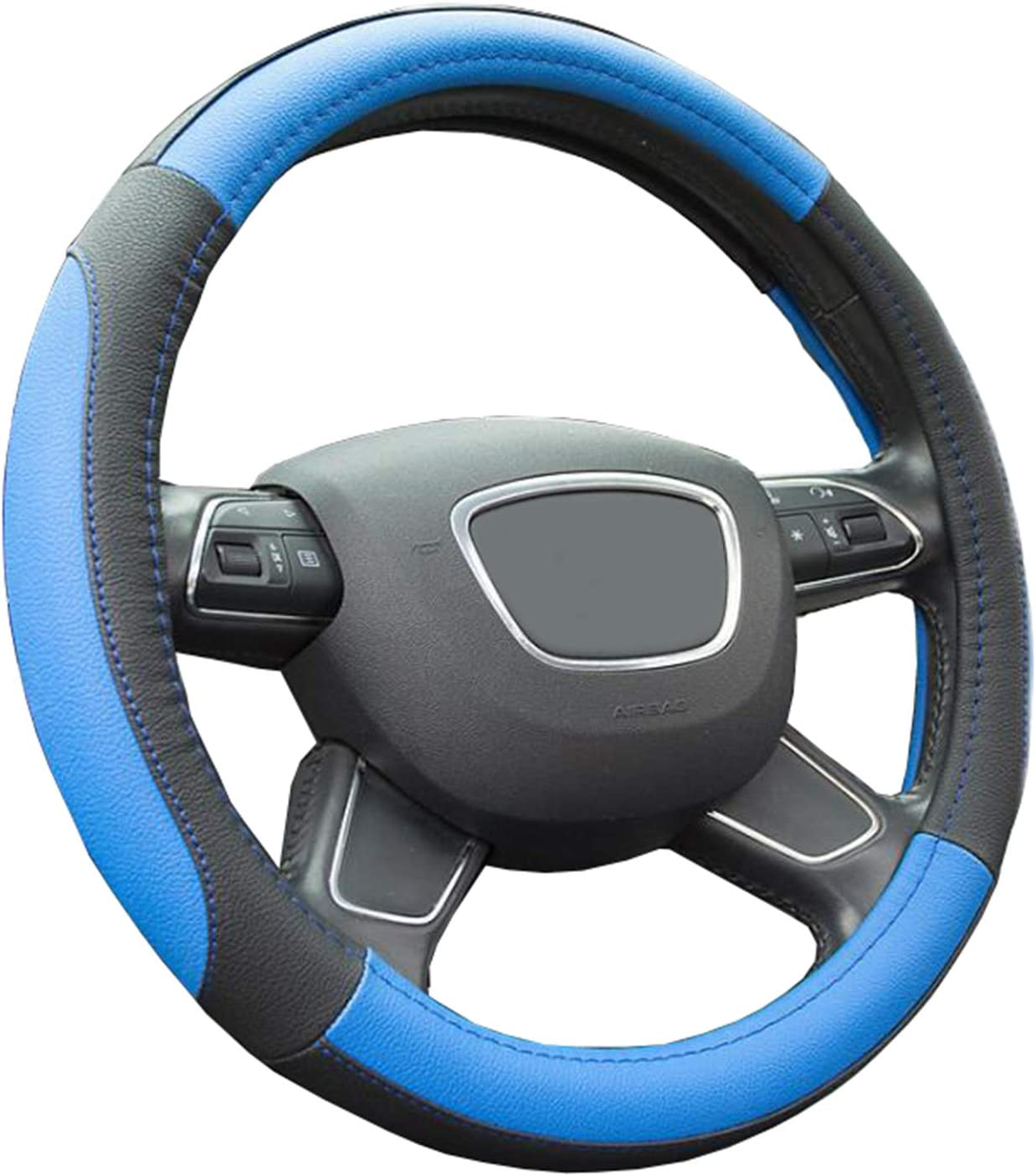 Finoki Auto Universal Anti Rutsch Atmungsaktive Lenkradhülle Lenkradbezug Lenkradschoner Aus Mikrofaser Leder 36 38cm Blau Küche Haushalt