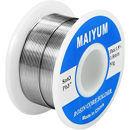 MAIYUM 63-37 Tin Lead Rosin Core Solder Wire for Electrical Soldering (0.8mm 50g)
