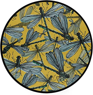 Dragonflies Pattern Area Rug Round Non-Slip Carpet Living Room Bedroom Bath Floor Mat Home Decor (3 Feet Round)