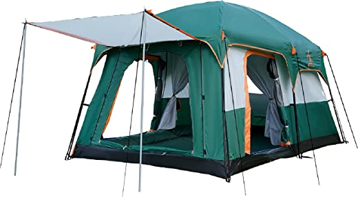 KTT Large Tent 6 Person,Family Cabin Tents,2 Rooms,Straight Wall,3 Doors and 3 Windows with Mesh,Waterproof,Double Layer,Big Tent for Outdoor,Picnic,Camping,Family,Friends Gathering.