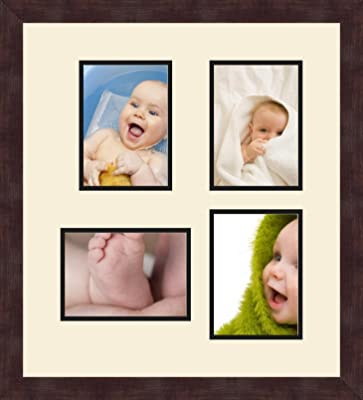 Art to Frames Double-Multimat-317-771//89-FRBW26061 Collage Frame Photo Mat Double Mat with 4-5x7 and 1-8x10 Openings and Espresso Frame