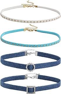 4 Pcs Blue Jean Denim Choker Necklace Women Punk Rock Studded Choker Collar Necklace