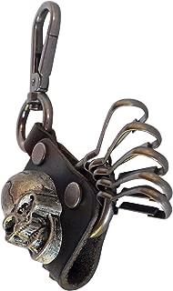 RAAYA Brown Skull Leather Monogram Keychain Key Chain Ring Keyring Keyfob Key Holder with Easy Clasp Key (Skull, Brown)