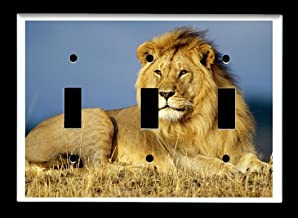 Triple Toggle (3-toggle) Light Switch Plate Cover - African Wildlife Safari Animals - Lion