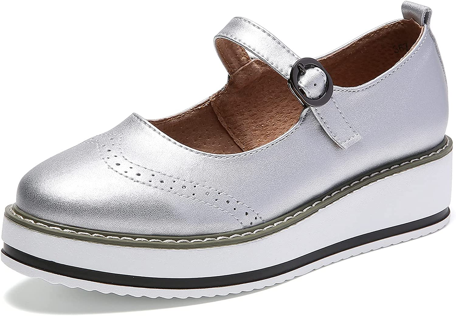 DADAWEN Women's Platform Ankle Max 70% OFF Now on sale Strap Toe Janes Mary Wedges Round