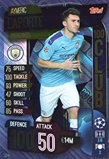 MATCH ATTAX 19/20 AYMERIC LAPORTE 100 Club Trading Card - Manchester City