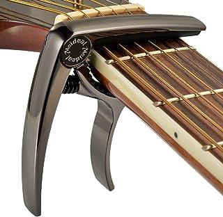 Premium Deluxe Guitar Capo for Acoustic and Electric Guitars - Also for Classical Guitar, Ukulele, Bass, Banjo & Mandolin - Lightweight Aluminum Metal (Black)