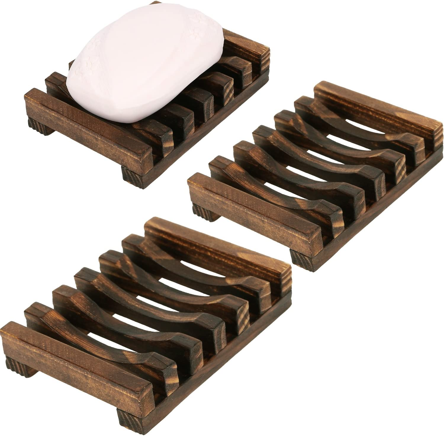 Anwenk 3Pack Soap Dish Wooden Soap Saver Holder Soap Tray for Bathroom Shower Rectangular Sink Drainer Hand Craft for Soap,Sponges and More