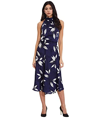 Adrianna Papell Plus Size Tossed Leaves Halter Dress (Navy/Ivory) Women
