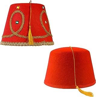 Tigerdoe Fez Hat – 2 Pack - Red Fez Hat with Gold Tassel - Turkish Hat - Moroccan Hat – Shriner Hat