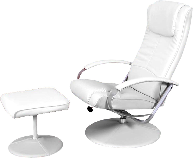 Mendler Relaxliege Relaxsessel Fernsehsessel N44 mit Hocker  wei