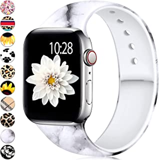 Adorve Compatible with Apple Watch Band 38mm 40mm iWacth Series 5 4 3 2 1 Soft Silicone Cool Printed Fadeless Replacement Sport Strap for Women Men Marble S/M