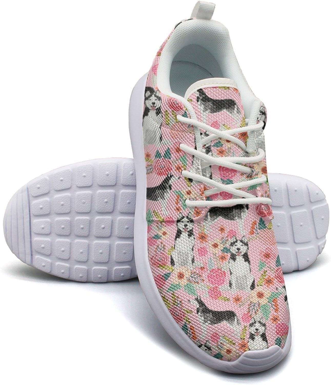 ERSER Cute Husky Dog Pink Floral Lightweight Running shoes Women Wide