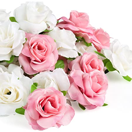 Kesote 50 pcs Fleur Artificielle Tête de Rose 4cm, Rose Et Blanc Real Touch artificielles Roses pour décoration de fête de Mariage Album Décoration de la Maison