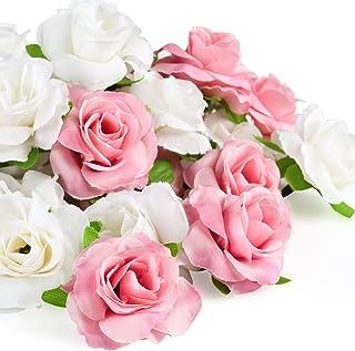 Kesote 50 pcs Fleur artificielle Tête de Rose 4cm, Rose Et Blanc Real Touch artificielles roses pour décoration de fête de...
