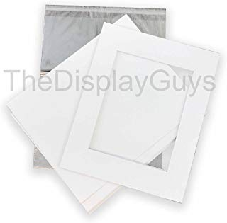 The Display Guys, Pack of 10 White Pre-Cut Picture Mat 5x7 for 4x6 Photo White Core Bevel Cut Mattes Sets+ Backing Board + Clear Plastic Bags (White 10pcs 5x7 Complete Set)