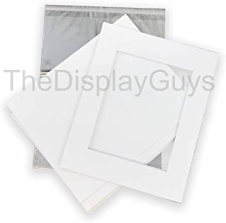 The Display Guys, Pack of 10 White Pre-Cut Picture Mat 11x14 inches for 8x10 Photo White Core Bevel Cut Mattes Sets+ Backing Board + Clear Plastic Bags (Pack of 10 White 11x14 Complete Set)