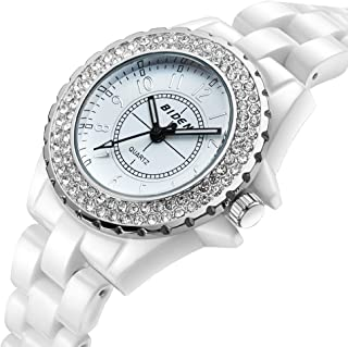 Women Watch BIDEN Brand Rhinestone Ivory Simulation Ceramic Strap Unique Style with Luminous Hands for business-gifts