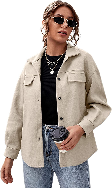 Verdusa Women's Button Front Drop Shoulder Solid Coat Outerwear with Pocket
