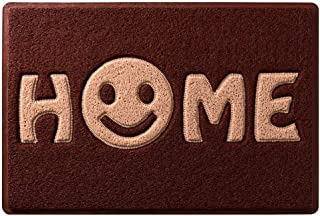 suneagle Home Door Mat with Smiley Face-Sleep Sweet Home Smile,3D Welcome Barrier Dirt-Trapper Floor Mat,Rectangular Non-Slip Carpet,Spaghetti Doormat,Washable Entrance Floor Mat,4 Colors,Red-60×90cm