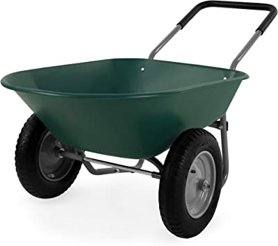 Best Choice Products Dual-Wheel Home Utility Yard Wheelbarrow