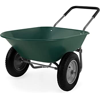 Best Choice Products Dual-Wheel Home Utility Yard Wheelbarrow Garden Cart w/Built-in Stand for Lawn, Gardening, Grass, Soil, Bricks, and Construction, Green