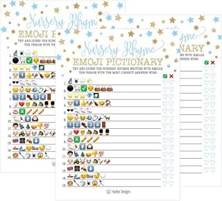 25 Blue Emoji Nursery Rhyme Baby Shower Game Party Ideas For Pictionary Quiz, Boys Kids Men Women and Couples, Cute Classic Bundle Pack Set Gold Stars Gender Neutral Unisex Fun Coed Guessing Card