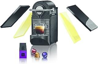 Krups Nespresso Pixie Clips XN3020 - Cafetera de cápsulas de 19 bares, 2 programas de café, bandeja extraíble, indicador luminoso de depósito vacío y función de autoapagado, color amarillo y negro