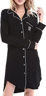 Women Long Sleeve Pajama Top Buttom Down Sleep Shirt Dress (XS-XL)