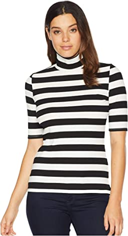 3/4 Sleeve Wide Ribbed Stripe Turtleneck Top