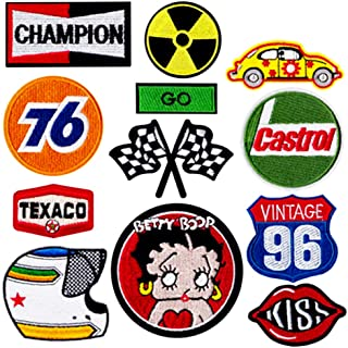 8 Pcs Race Team Patch, Auto Racing Patches Set - Motor Patches Checkered Flag Chequered auto car Racing Applique Jacket Ve...
