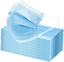50Pcs Disposable Face Masks, 3 Layers Breathable Earlooped Disposable Mask - Blue (Sealed in Plastic Bag)
