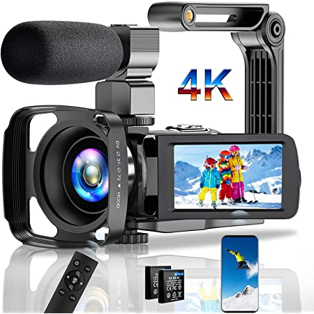 Video Camera Camcorder 4K Digital YouTube Vlogging Camera,30M 18X Digital Zoom Camcorder 3 in Touch Screen Camcorder with Microphone Handhold Stabilizer