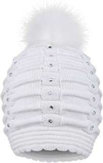 Toppers Womens Faux Fur Pompom Knit Winter Beanie Hat w/Sequins